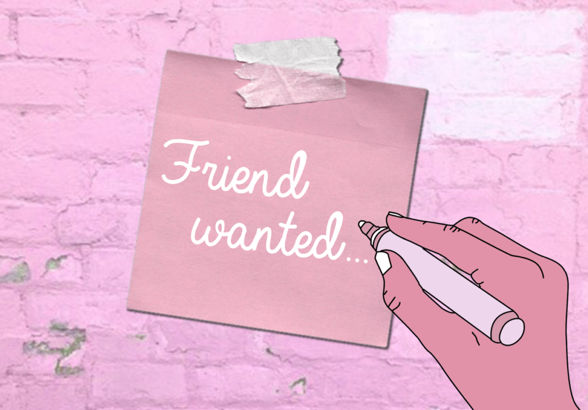 Pink Friends Wanted Sign